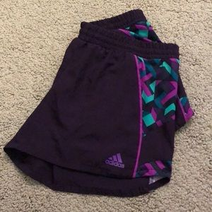 Adidas purple patterned running shorts